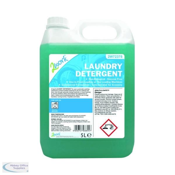2work liquid laundry detergent 5l auto dosing 2w72375 abbey office supplies ireland. Black Bedroom Furniture Sets. Home Design Ideas
