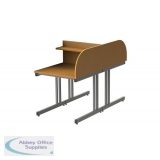 Double Sided Cantilever Study Carrel Desk With Rounded Corners - Add On - H1100 x W800 x D1600mm