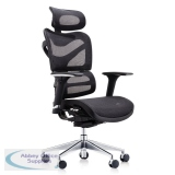 Abbey Dorsum High Back 24 Hour Mesh Chair with Extra Wide Headrest in Black