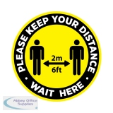 Covid-19 Social Distancing Floor Sign Yellow - Wait Here - Pack of 10