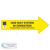 Covid-19 Social Distancing Floor Sign Arrow-shape Yellow - One Way System