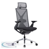 Abbey Fercula 24 Hour High Back Mesh Chair in Black with Sliding Seat and Headrest
