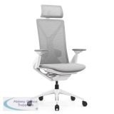 Abbey Fercula 24 Hour High Back Mesh Chair in White with Sliding Seat and Headrest