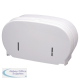 2Work Micro Twin Toilet Roll Dispenser White DIS840