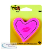Post-it Notes Heards with Neon Lips Pink 50 Sheets 6370-HTL