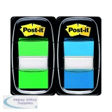 Post-it Index 1 Inch Green and Blue (Pack 2x50) 680-GB2