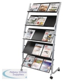 Alba 5 Shelf Single Sided Mobile Literature Display Stand 3 x A4 DD5GM