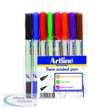 Artline Assorted 2-in-1 Whiteboard Markers Pack of 8 EK-541T-WB