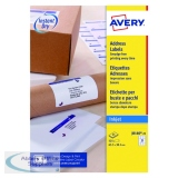 Avery Inkjet Address Labels QuickDRY 63.5x38.1mm 21 Per Sheet White (525 Pack) J8160-25