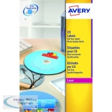 Avery Glossy Colour Full Face CD/DVD Laser Labels 2 Per Sheet (25 Pack) L7760-25