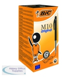 Bic M10 Clic Retractable Ballpoint Pen Medium Black (50 Pack) 901256