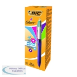 Bic 4 Colours Fashion Grip Ballpoint Pen Pink/Purple/Blue/Green (12 Pack) 892290
