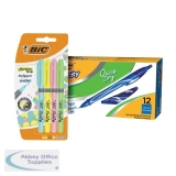 Bic Gel-ocity Quick Dry Pen Blue (12 Pack) BC810749 FOC Bic Highlighter Grip Pastel (4 Pack) 964859