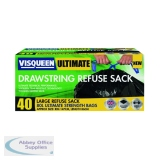 Visqueen Ultimate Drawstring Refuse Sack 80 Litre Black (40 Pack) RS057770