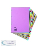 Elba 20-Part Card Divider 160gsm Recycled Manilla A4 Assorted 100080775