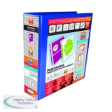Elba Panorama 65mm 4 D-Ring Presentation Binder A4 Blue (4 Pack) 400008675