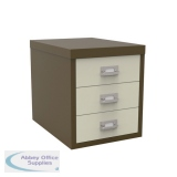 Bisley 3 Drawer Coffee Cream Non-Locking Multi-Drawer Cabinet BY47767