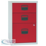 Bisley A4 Homefiler 3 Drawer Lockable Grey/Red PFA3-8794
