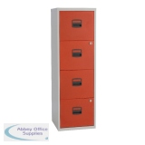 Bisley A4 Homefiler 4 Drawer Grey Red BY78730