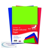 A4 Bright Coloured Paper 80gsm 50 Sheets (10 Pack) OBS489