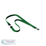 Durable 15mm Dark Green Textile Lanyard With Snap Hook 812732
