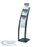 Deflecto Black Six Pocket Literature Floor Stand 693104