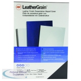 GBC LeatherGrain 250gsm A5 Black Binding Covers (100 Pack) 4400017