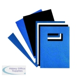 GBC LeatherGrain 250gsm A4 With Title Window Blue Binding Covers (50 Pack) 46735E