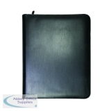 Monolith Zipped Leather Ring Binder A4 Black 2924