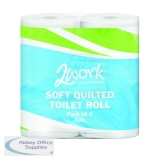 2Work Luxury 3-Ply Quilted Toilet Roll 200 Sheets (40 Pack) TQ4Pk