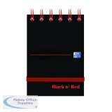Black n\' Red Ruled Elasticated Wirebound Notebook 140 Pages A7 (5 Pack) 400050435