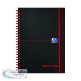 Black n\' Red Ruled Polypropylene Wirebound Notebook 140 Pages A5 (5 Pack) 846350109
