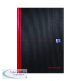 Black n\' Red Plain Casebound Hardback Notebook A4 (5 Pack) 100080489