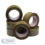 Polypropylene Packaging Tape 50mmx132m Brown (6 Pack) HPPB-480132-25