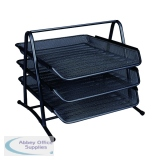 Q-Connect 3 Tier Black Letter Tray KF00823