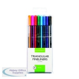 Q-Connect Triangular Fineliners Assorted Colour (8 Pack) KF18050
