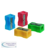 Q-Connect Plastic Pencil Sharpener Single Hole Assorted (10 Pack) KF76992