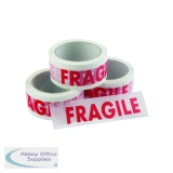 Vinyl Tape Printed Fragile White and Red 50mm x 66m (6 Pack) PPVC-FRAGILE