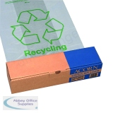 Acorn Bin Printed Recycling Bin Liner Clear Green (50 Pack) 402573