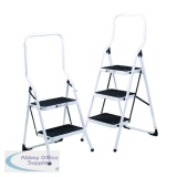 Folding Step Stool 2 Tread High Back White Aluminium 402790