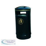 Outdoor Hooded Top Bin 75 Litre Victorian Black 321770