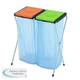 VFM Orange/Green 2-Compartment Recycling Sack Holder 60 Litres 370573