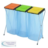 VFM Orange/Green/Yellow 3-Compartment Recycling Sack Holder 60 Litres 370574