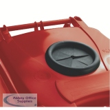 Red Wheelie Bin 120L With Bottle Bank Aperture And Lid Lock 377869