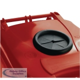 Red Wheelie Bin 140L With Bottle Bank Aperture And Lid Lock 377870