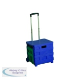 Folding Container Trolley With Lid Blue/Green 379531
