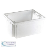 Solid Slide Stack 600X400X300mm White Nesting Container 382965