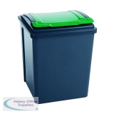 VFM Green 50L Grey/Green Recycling Bin With Lid 384288