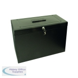 Cathedral Metal File Box Foolscap Black HOBK