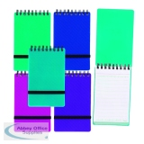 Snopake Noteguard Wirebound Hardback Notebook 76x127mm Assorted (5 Pack) 14324
